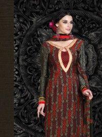 Red and Black French Crape Print  Salwar kameez, Designer salwar kameez DE-8969