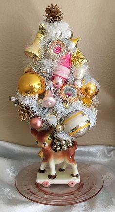 Vintage.Christmas.Reindeer Planter.Bottle Brush Tree.Ornaments! *Magic*
