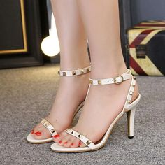 Rivets Open Toe Ankle Wrap Stiletto High Heels Sandals – chicshoeswear heels classy simple low heels aesthetic he Strappy Sandals Heels, High Heels Stilettos, Peep Toe Pumps, Ankle Strap Sandals, Stiletto Heels, Low Heels, Women Sandals, High Heels Outfit, Heels Outfits