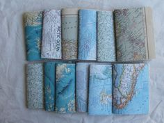Journals made from old maps and other paper.