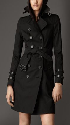 $1,995, Black Trenchcoat: Burberry Long Leather Detail Gabardine Trench Coat. Sold by Burberry. Click for more info: https://lookastic.com/women/shop_items/53974/redirect