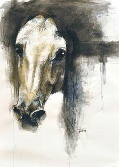"Benedicte Gele; Pastel Drawing ""Alerte VII"""