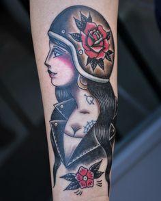 Old school biker chick tattoo (by Iannis Sr)
