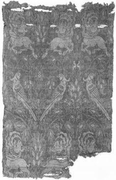 Brocade Lucca, 14th century  Linen and silk; compound woven silk