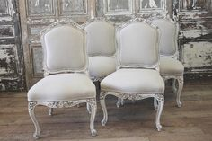 Antique French Dining Chairs set of 6 from Full Bloom Cottage French Country Dining Chairs, Black Dining Chairs, French Chairs, French Country House, French Provincial Dining Chairs, Dining Tables, Deco Furniture, French Furniture, Dining Room Furniture