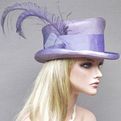 Lavender Kentucky Derby, Ascot Hat  Handmade by Hollywood milliner.  One-of-a-kind
