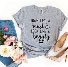 Train Like a Beast Look Like a Beauty T-shirt - S / Mauve