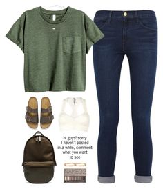 """sorry guys!"" by cjstefan ❤ liked on Polyvore featuring Frame Denim, Kendra Scott, Birkenstock, Haerfest, Urban Decay, Free People and Cartier"