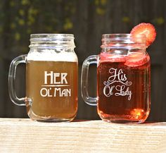 His Ol Lady & Her Ol Man Mason Jar Mugs, Couples Anniversary Boyfriend Girlfriend His and Hers Grandpa Grandma Husband Wife Friend Gift Anniversary Boyfriend, Anniversary Gifts For Him, Boyfriend Girlfriend, Cute Gifts, Diy Gifts, Funny Gifts, Mason Jar Mugs, Old Women, Valentine Gifts