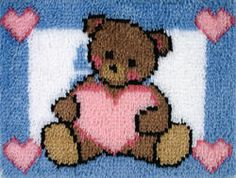 Bear carpet embroidery diy tapijt latch hook rug canvas printing vloerklee Foamiran for crafts embroidery kit accessories Cross Stitch Thread, Cross Stitch Kits, Embroidery Kits, Embroidery Stitches, Teddy Bear Design, Latch Hook Rug Kits, Diy Carpet, Rug Hooking, Diy Kits