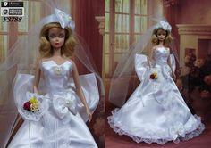 Robe Barbie  Mariée N19  vêtement pour poupée Barbie par F3788