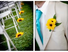 Sunflower aisle decor and groom's boutonniere (Flag Hill Winery Sunflower Wedding)