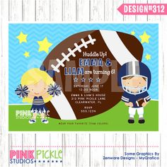 FOOTBALL and CHEERLEADER Birthday Party by PinkPickleParties, $10.00