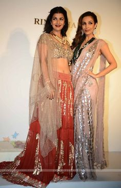 Nimrat Kaur and Malaika Arora Khan at the Indian Couture Week - Day 2 Indian Bridal Wear, Indian Ethnic Wear, Indian Dresses, Indian Outfits, Desi Clothes, Indian Clothes, Asian Party Wear, Asian Fashion, Fashion Beauty