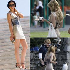 Emma Roberts Metallic Colorblock Printed Bandage Dress