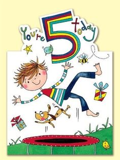 Rachel Ellen Age 5 Boy On Trampoline Birthday Card Birthday Wishes For Kids, Happy Birthday Kids, Art Birthday, Birthday Greetings, Birthday Ideas, Bee Crafts For Kids, Class Birthdays, Scrapbook Images, Birthday Template