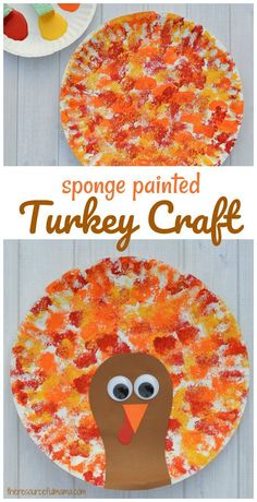 This Thanksgiving Turkey Craft uses a fun sponge painting technique on paper plates for the turkey's feathers that kids will love. #kidcraft #turkeycraft #theresourcefulmama #Thanksgiving