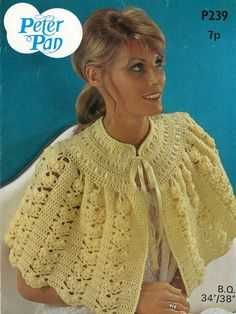 Items similar to PDF Vintage Womens Ladies Bed Cape Jacket Crochet Pattern Pussy Bow Wendy Peter Pan Shell Sex kitten Baby Doll Lolita Yellow on Etsy Crochet Cape, Knit Or Crochet, Crochet Scarves, Crochet Shawl, Crochet Clothes, Free Crochet, Shawl Patterns, Knitting Patterns, Crochet Patterns