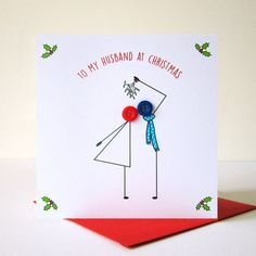 'Kissing Under Mistletoe' Button Christmas Card