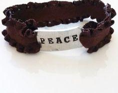 Peace Hand Stamped Stretchy Bracelet - Edit Listing - Etsy