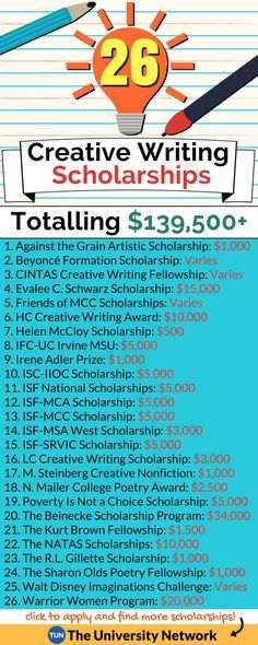 Writing Scholarships Here is a selection of Creative Writing Scholarships that are listed on TUN.Here is a selection of Creative Writing Scholarships that are listed on TUN. School Scholarship, Scholarships For College, College Students, Student Loans, Athletic Scholarships, Graduate School, Creative Writing Scholarships, College Life Hacks, College Tips