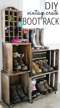 DIY Home Ideas | Storage and Organization | Here's a unique way to organize your family's cold weather gear - a book rack made from vintage crates!