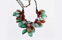 Green Burgundy Leaf Necklace Beaded by CherylParrottJewelry, $61.95