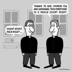This Christmas Is A Really Silent Night – Cartoon Theology Christian Cartoons, Christian Humor, Church Humor, Holy Night, Silent Night, Memes, Christmas, O Holy Night, Xmas