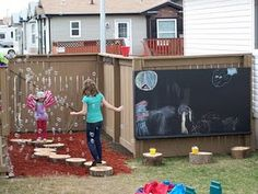 Super cute and creative outdoor space. Love the outdoor chalkboard on the fence.  Wonder how it will weather in Texas?