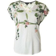 Ted Baker Secret Trellis V Neck T-shirt ($63) ❤ liked on Polyvore featuring tops, t-shirts, cream, vneck t shirts, v-neck tops, white v neck top, white t shirt and vneck tops