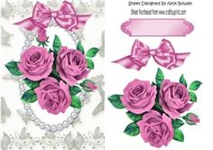 pretty posy of pink roses with pearls on Craftsuprint - View Now!