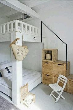 Great idea for a sisters' bedroom. The stairs function as storage also.