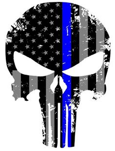 Blueline Punisher Skull 5.5 x 4 Inch Tattered Subdued Us Flag Reflective Decal with Thin Blue Line