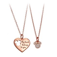You'll surely capture eyes and hearts with a shining pendant that elegantly declares, Disney Necklace, Bff Necklaces, Best Friend Necklaces, Friendship Necklaces, Disney Jewelry, Necklace Set, Stylish Jewelry, Cute Jewelry, Jewelry Accessories