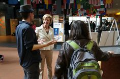 Tammy speaks with students on campus at UW-Oshkosh