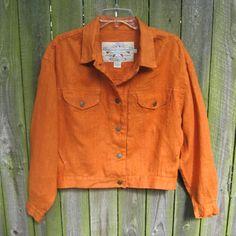 f527799797 Jacket Linen Safari Jean Style BANANA REPUBLIC vintage 80s Orange XL 1X  Cropped Crop Bolero Fall Pumpkin