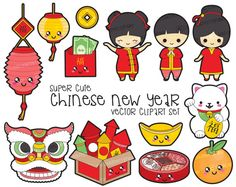 Premium Vector Clipart Kawaii Chinese New by LookLookPrettyPaper