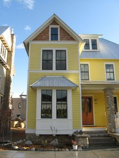 Corrugated Metal Roof Design, Pictures, Remodel, Decor and Ideas Exterior Design, Corrugated Metal Roof, House Exterior, Yellow Houses, Bay Window, Yellow Brick Houses, Remodel, Roof Design, Craftsman Exterior