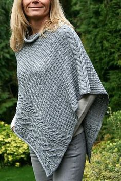 Ponchos are the ultimate timeless classic! Knit your own from our glorious range of poncho knitting patterns! Poncho Knitting Patterns, Loom Knitting, Knit Patterns, Free Knitting, Free Knit Poncho Pattern, Knitted Cape, Knitted Shawls, Knit Or Crochet, Crochet Shawl