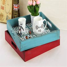 the Old Wooden Jewelry Box Retro Desktop Storage Cosmetics Mini box Hotel Food Tray 4810678 2016 – $28.99