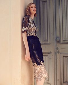 Chantilly Lace & Sequin Midi Sheath Dress with Lace Flower Appliqués Organza Dress, Sequin Dress, Chiffon Dress, Lace Dress, Embellished Skirt, Tulip Dress, Tent Dress, Sheath Dress, Sequins