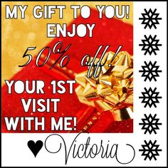 Happy Holidays! Victoria is offering 50% off your first visit with her! Existing clients who refer a friend to Victoria with this great special will get 30% off their next visit! Call now to set up your appointment at 716-759-1200!