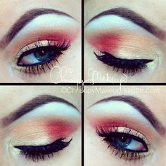 Red and gold eye makeup. Too scared to touch red eye makeup but this is so cool:]