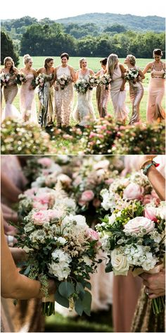 Southern girls, bridesmaid gowns, glitzy blush dress, bouquets, glamorous romance // Nyk + Cali