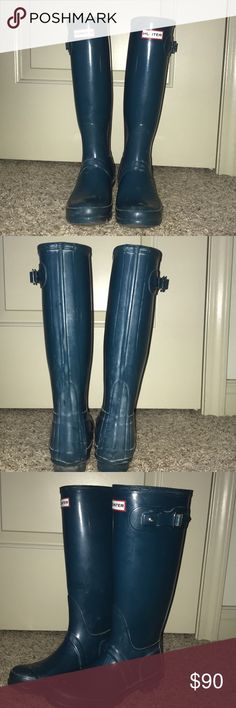 Turquoise Hunter Rain Boots: Tall Tall Hunter rain boots in turquoise, owned for 4 years but only slightly worn Hunter Boots Shoes Winter & Rain Boots