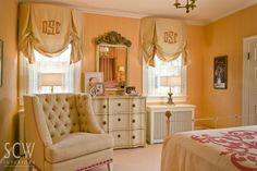 monogrammed curtains - girl's room