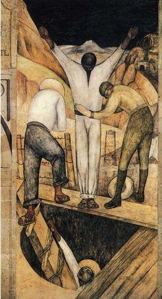 Exit from the Mine via Diego Rivera,  fresco