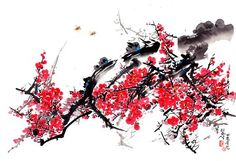 (North Korea) Red plum blossom by Lee Hwa-sik ). brush watercolor on paper. Chinese Painting Flowers, Red Plum, North Korea, Oriental, Watercolor, Mood, Paper, Pen And Wash, Watercolor Painting