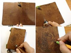 Pyrography on leather notebook cover. Midori traveler's notebook customize.  (5th Anniversary Traveler's Star Edition passport size)