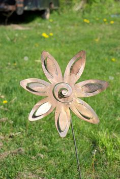 Metal Garden Flower Yard Stake by nbillmeyer on Etsy, $19.95